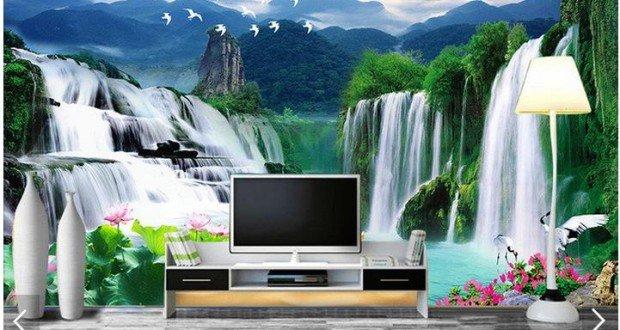 Papel de parede 3d para sala de tv curso aplica o for Sala de estar com papel de parede 3d