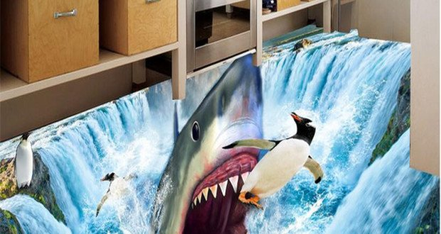 beibehang-Custom-3d-flooring-mural-self-adhesion-wall-sticker-3-d-Shark-waterfall-penguins-painting-room