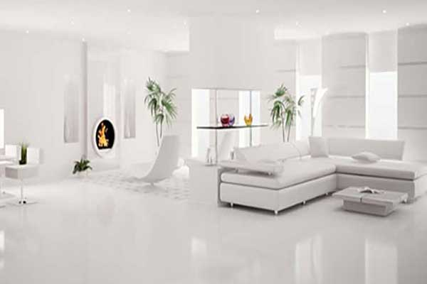 Porcelanato Líquido Branco Sala de Estar