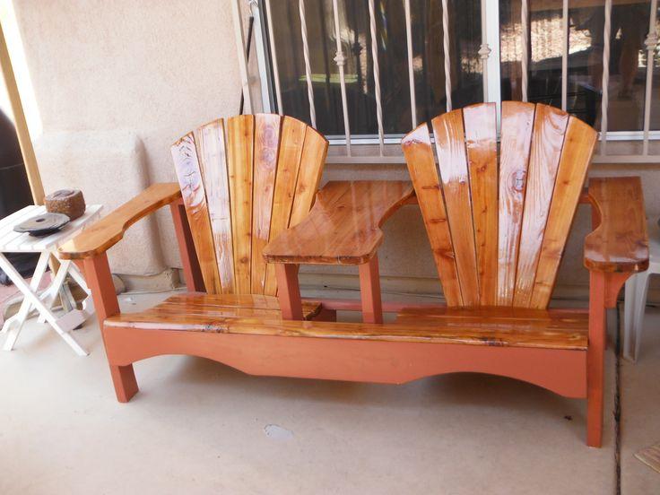 Banco de madeira com resina cristal