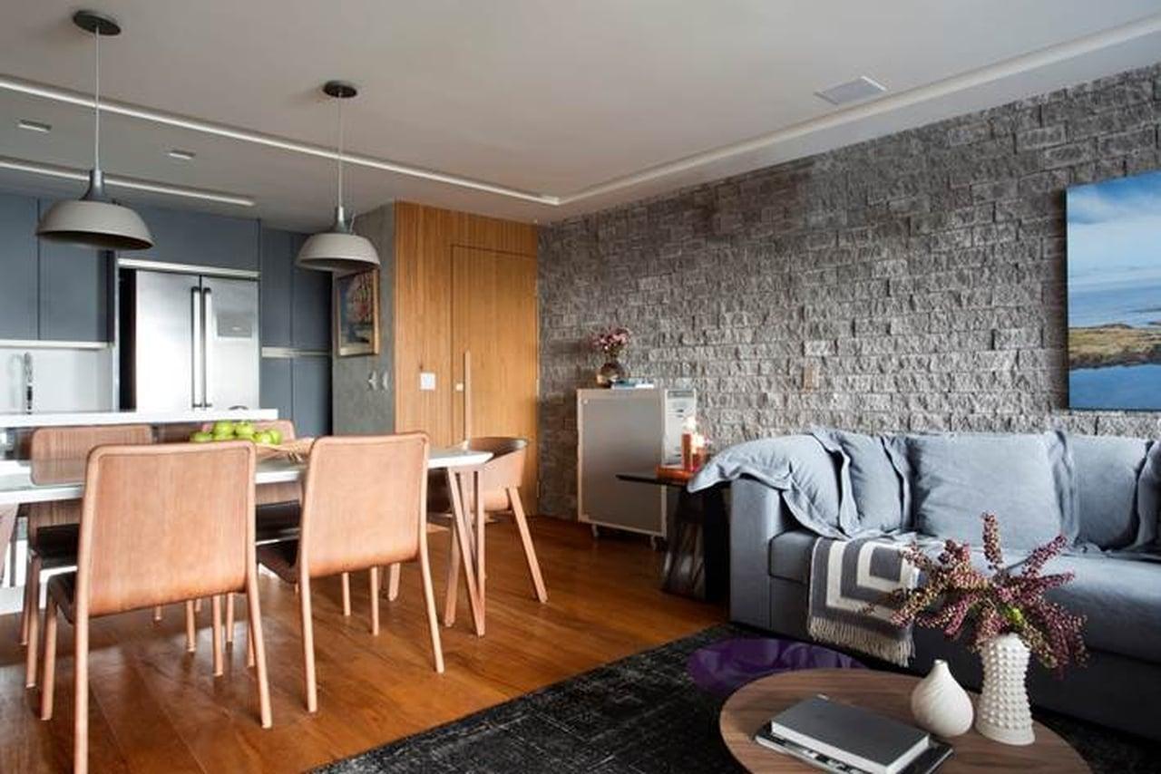 Sala de estar parede cinza